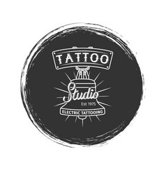 Grunge tattoo studio logo vector