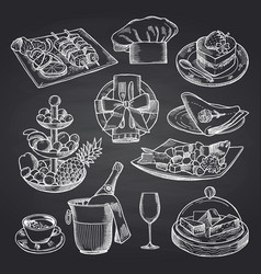 Hand drawn restaurant or room service vector