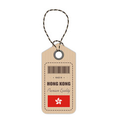 hang tag made in hong kong with flag icon isolated vector image