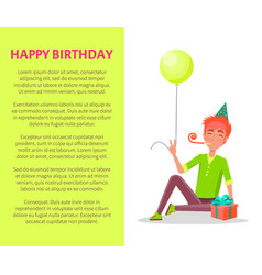 happy birthday postcard guy party horn in mouth vector image