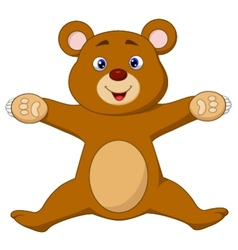 Happy brown bear cartoon jumping vector image
