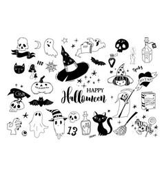 Happy halloween collection of doodles vector
