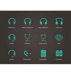 Headphones and speakers icons vector image
