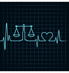 Heartbeat make a weighing machine and heart symbol vector image