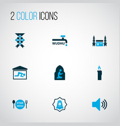 holiday icons colored set with human mecca vector image