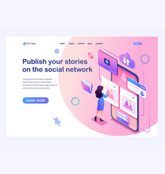 Isometric concept publish your stories on soci vector
