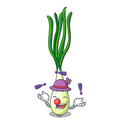 juggling fresh scallion isolated on the mascot vector image