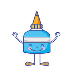 Kawaii happy glue bottle with arms and legs vector
