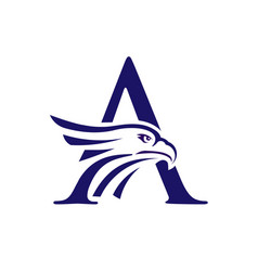 letter a and eagle head logo vector image