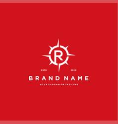 Letter r compass logo design vector