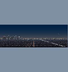 Los angeles night scene panoramic banner vector