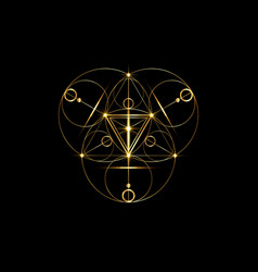 magic alchemy symbols sacred geometry gold logo vector image