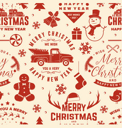 Merry christmas and 2021 happy new year seamless vector