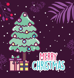 merry christmas celebration tree gift boxes snow vector image