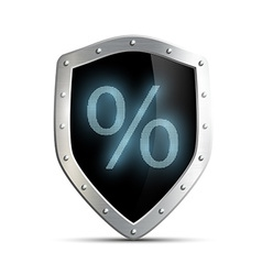 Metal shield with a percent sign isolated on white vector image