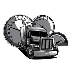 Monochromatic cartoon semi truck vector