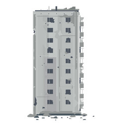 One desrtoyed nine-story eastern european building vector