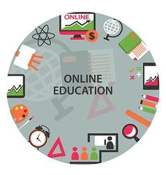 Online education emblem vector image