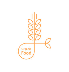 orange organic food logo like wheat ears vector image