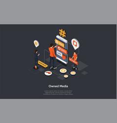 Owned media digital advertising online publicity vector