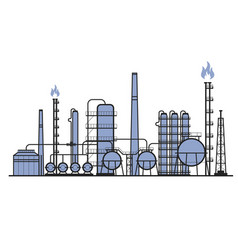 Petrochemical factory - manufacturing plant vector