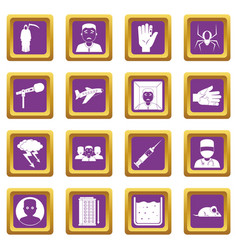 Phobia symbols icons set purple vector