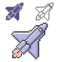 pixel icon space shuttle in three variants vector image