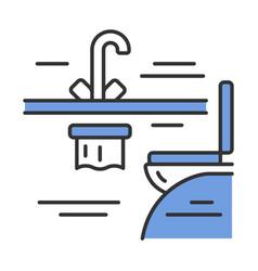 Plane toilet color icon vector