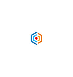 Polygon colored circle logo vector