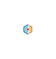 polygon colored circle logo vector image