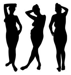 Posing woman set vector