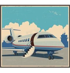 private aviation retro poster vector image