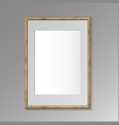 Realistic wooden frame for paintings or photos vector