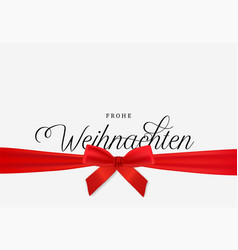 Red christmas gift ribbon greeting card in german vector