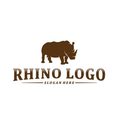 rhino logo design template rhino silhouette icon vector image