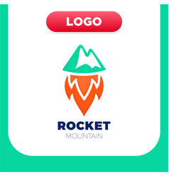rocket mountain logo top and speed spaceship vector image