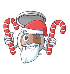 santa with candy makeup powder on wooden cartoon vector image