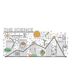 Science concept flat line art vector