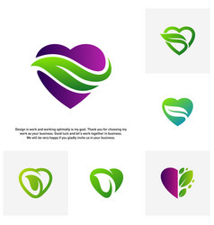 set of love green creative logo concepts nature vector image