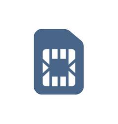 sim card flat icon phone chip mobile slot symbol vector image
