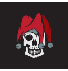 Skull in jester cap design template vector