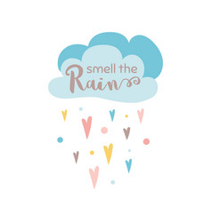 smell rain text cloud rain heart shapes vector image