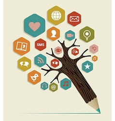 Social media flat icon concept tree vector