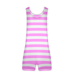 striped retro swimsuit in pink and white design vector image