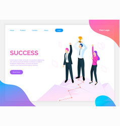 success of team teamwork and award for work site vector image
