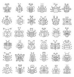 thin line insects icons set outline butterfly vector image