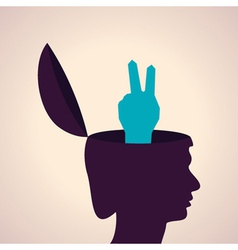 Thinking concept-Human head with victory symbol vector