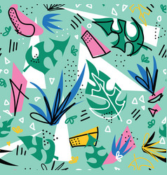 tropical plants collage seamless pattern vector image