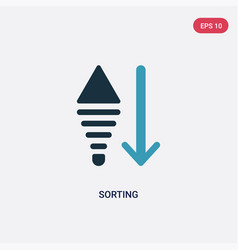 two color sorting icon from user interface vector image
