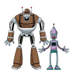 Two robot futuristic technologies vector